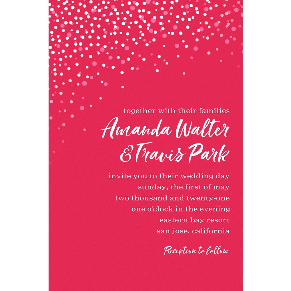 Custom Red Champagne Bubbles Wedding Invitation Image #1