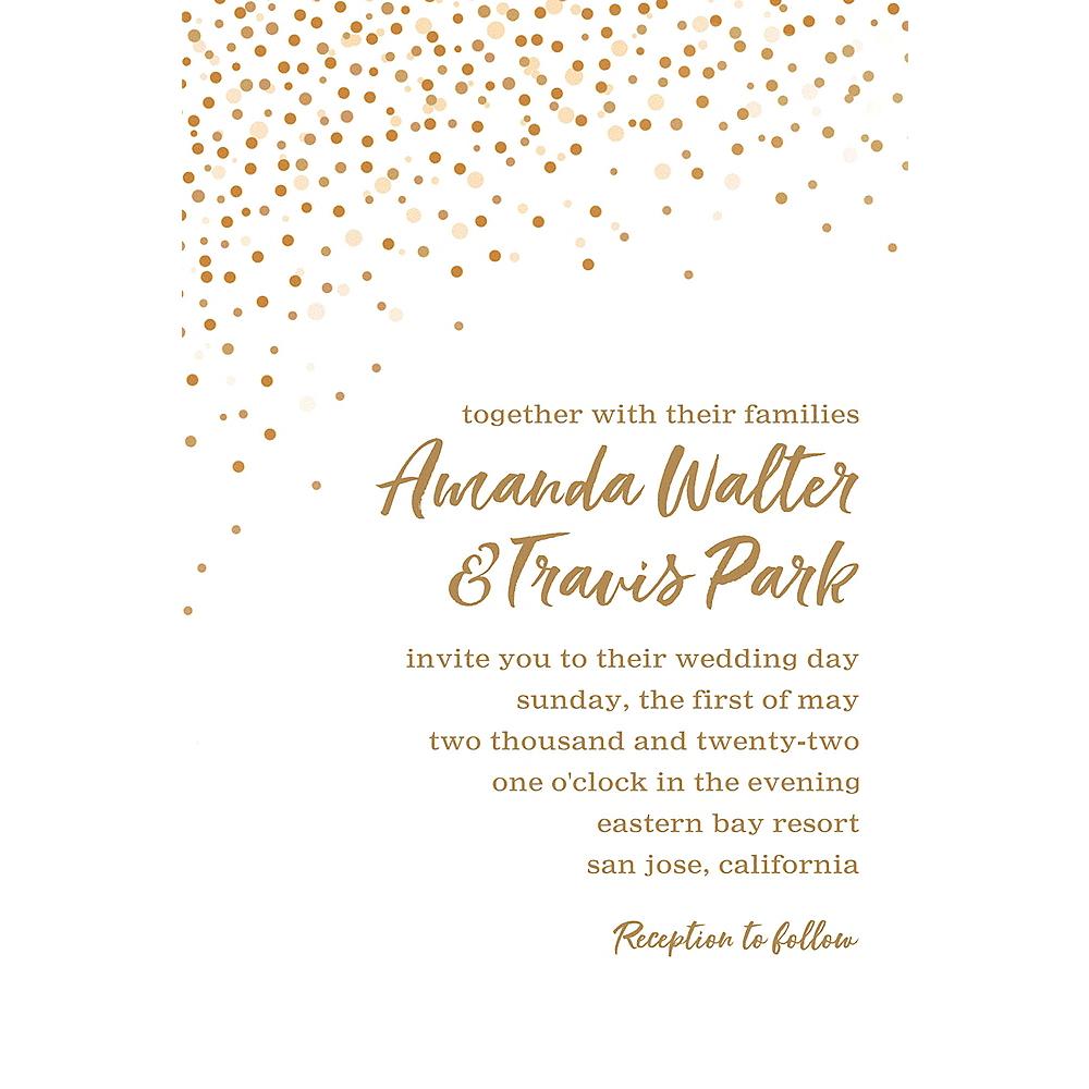 Custom White Champagne Bubbles Wedding Invitation Image #1