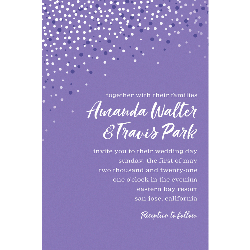 Custom Purple Champagne Bubbles Wedding Invitation Image #1