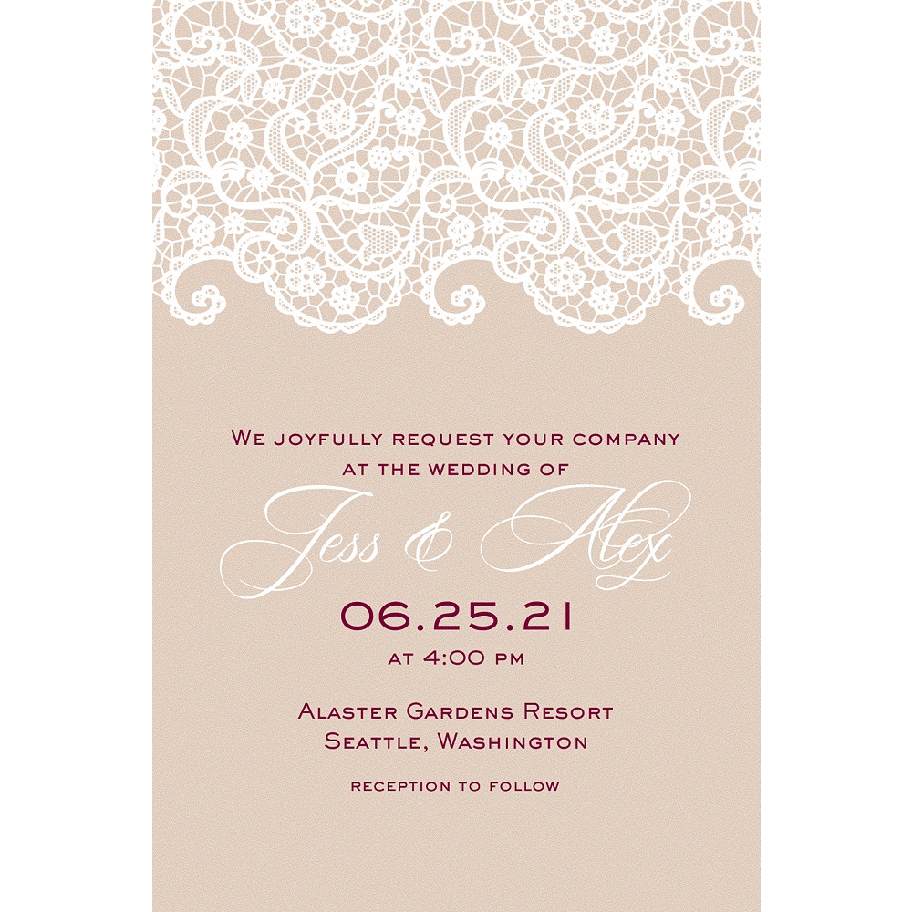 Custom Warm Lace Wedding Invitation  Image #1