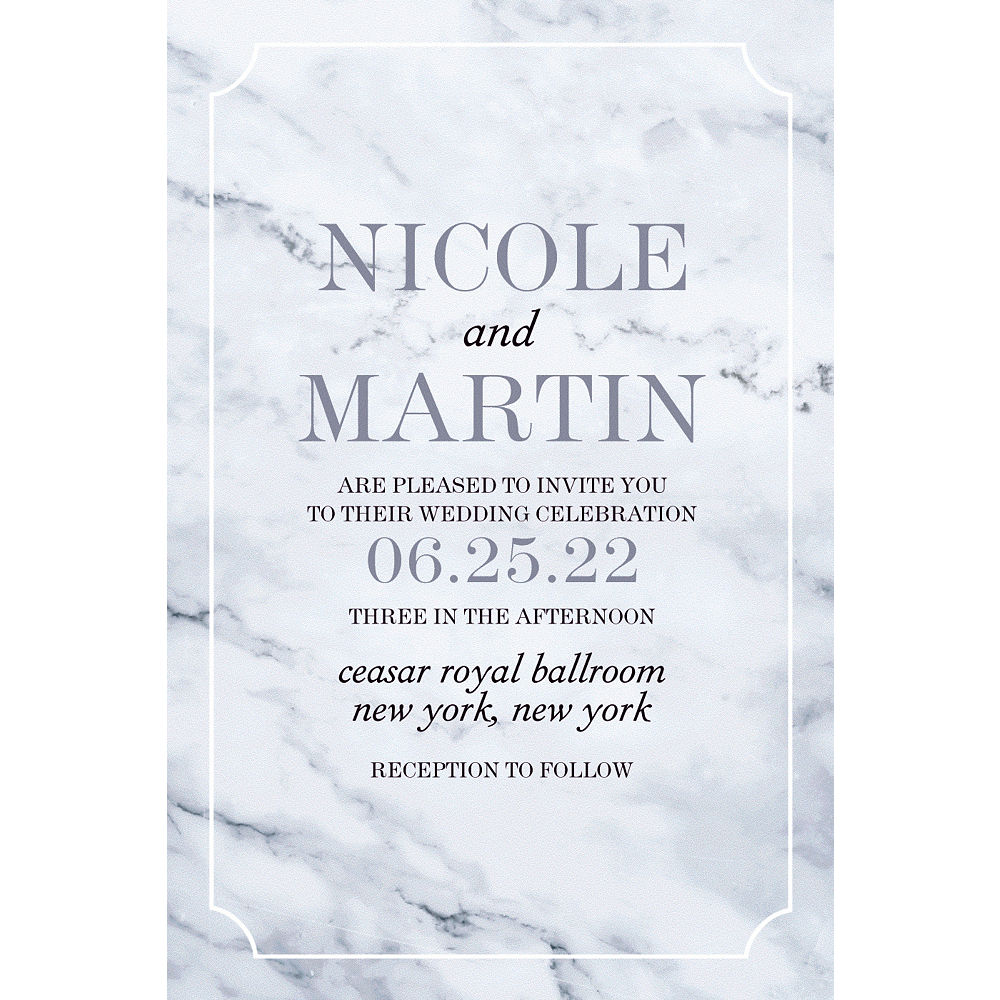 Custom Marble Wedding Invitation Image #1