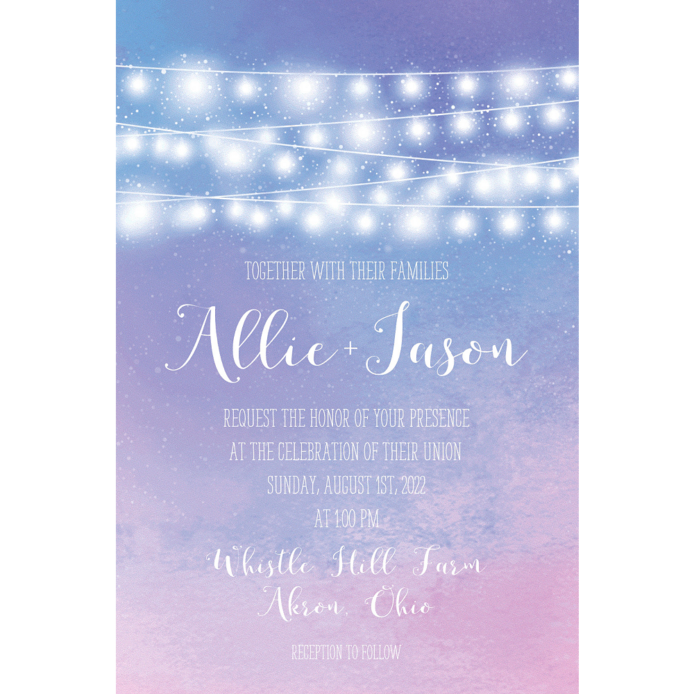 Custom Twilight Patio Lights Wedding Invitation Image #1