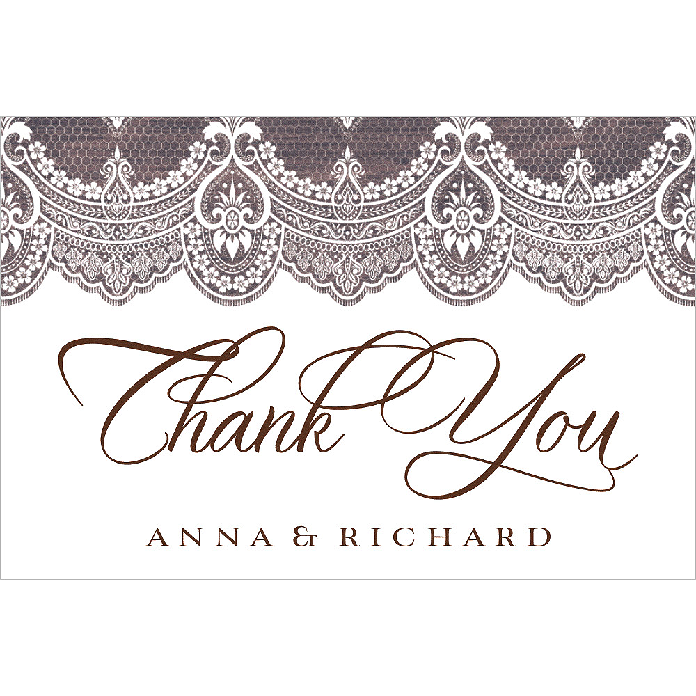 Custom Wood & Lace Wedding Thank You Note Image #1