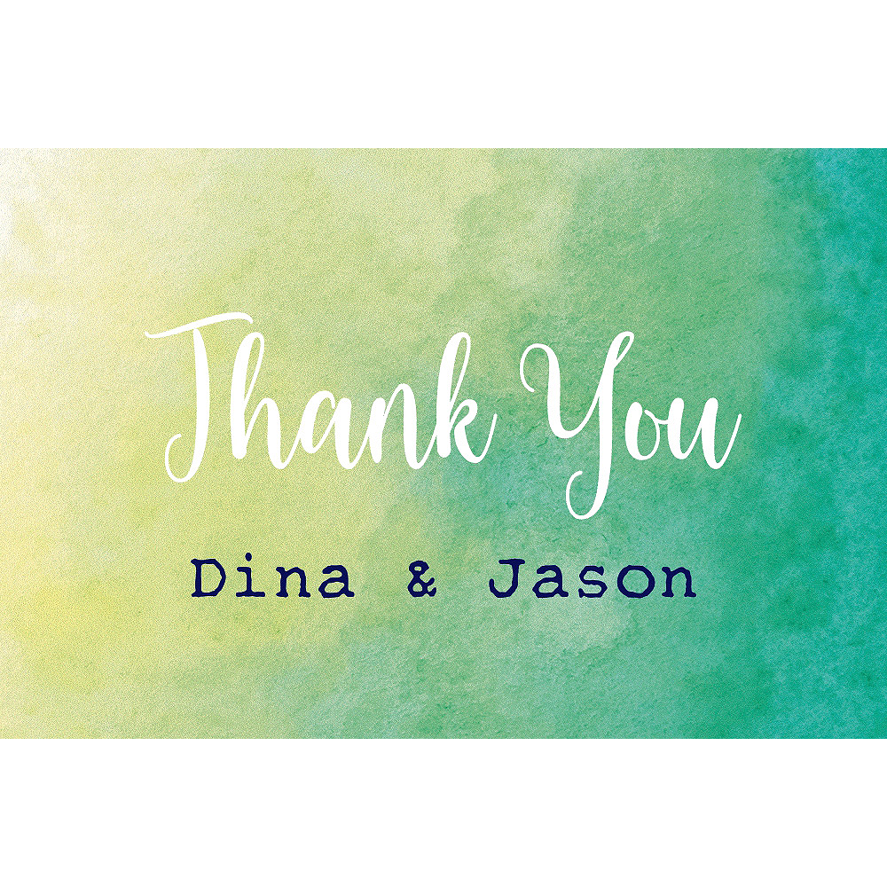 Custom Cool Watercolor Wedding Thank You Note Image #1