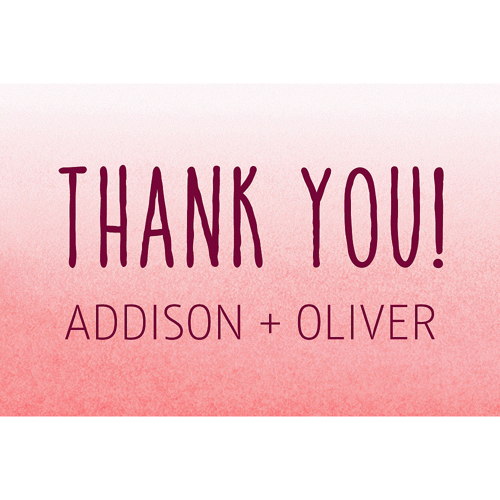 Custom Red Watercolor Ombre Wedding Thank You Note Image #1