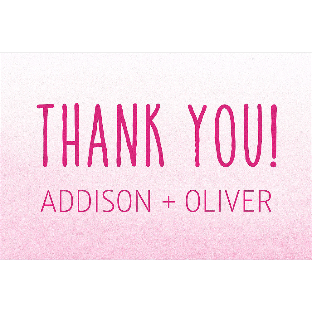 Custom Pink Watercolor Ombre Wedding Thank You Note Image #1