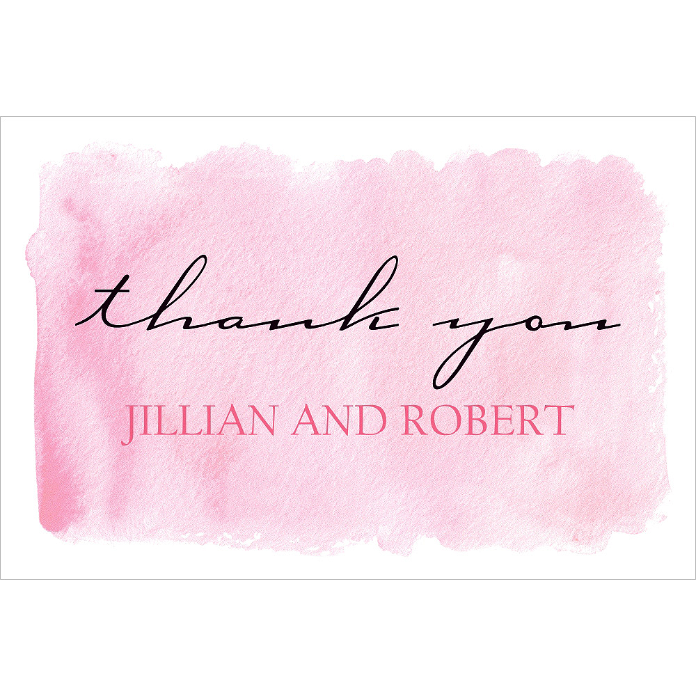 Custom Pink Watercolor Wedding Thank You Notes Party City