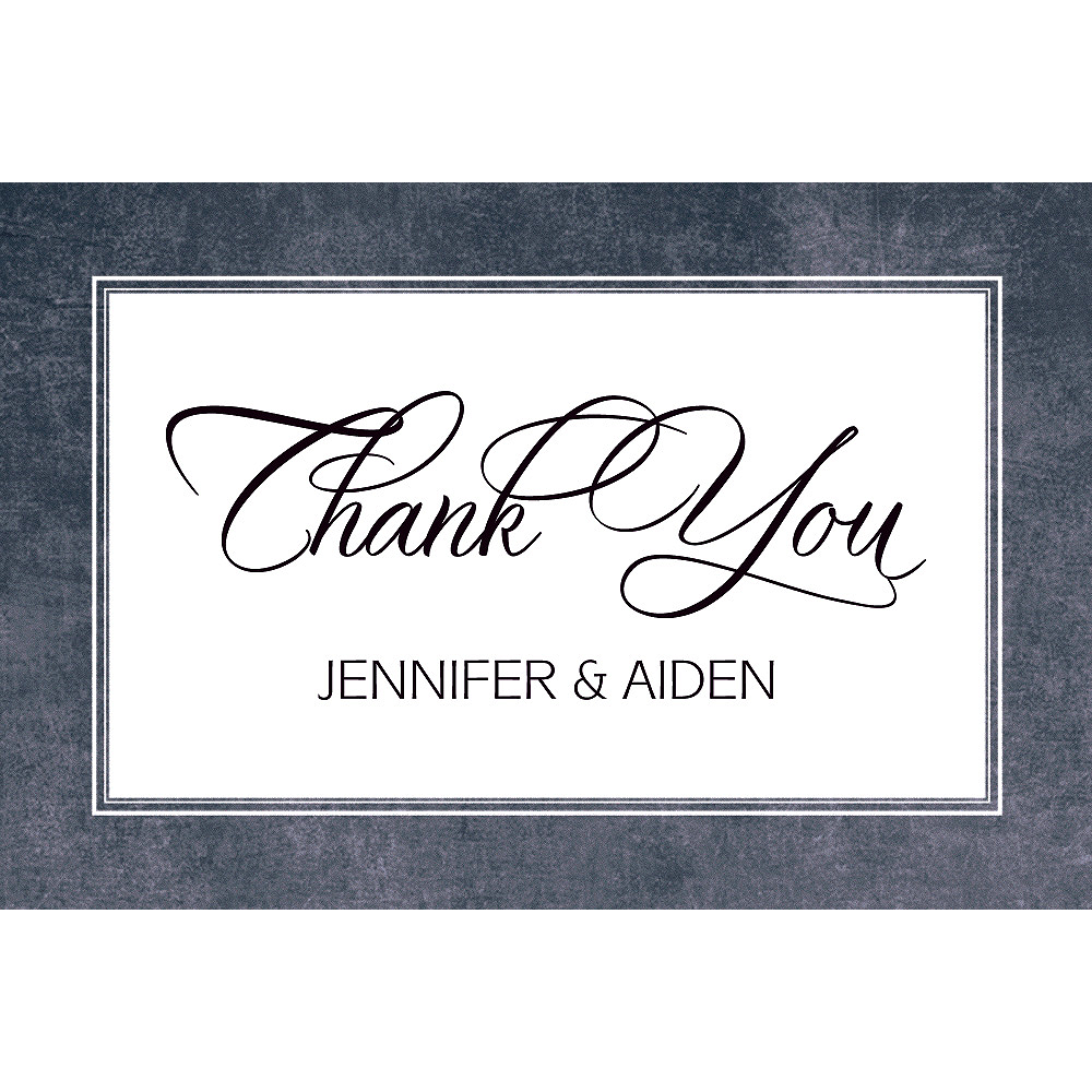 Custom Chalkboard with Border Wedding Thank You Note Image #1