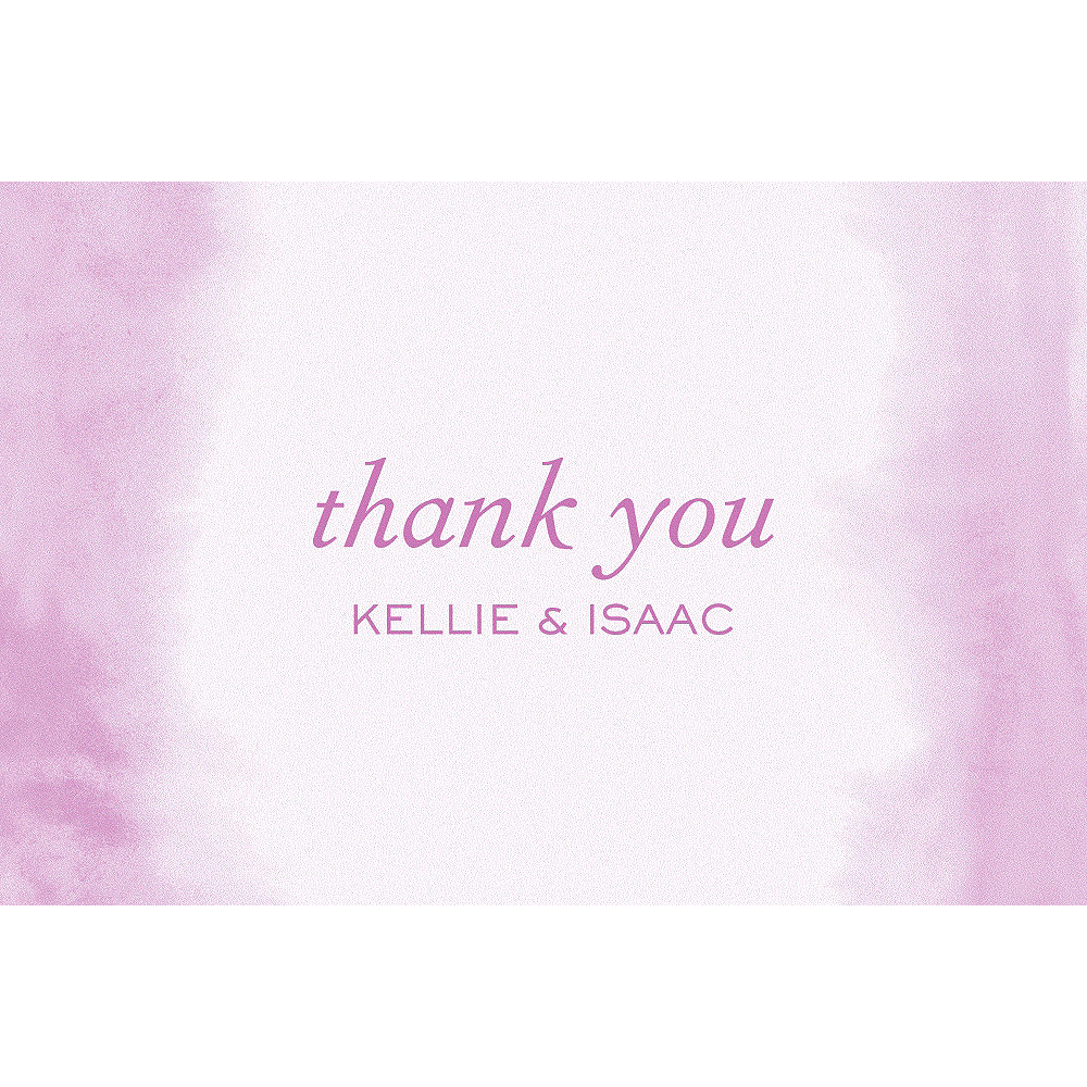 Custom Soft Lilac Watercolor Wedding Thank You Note Image #1