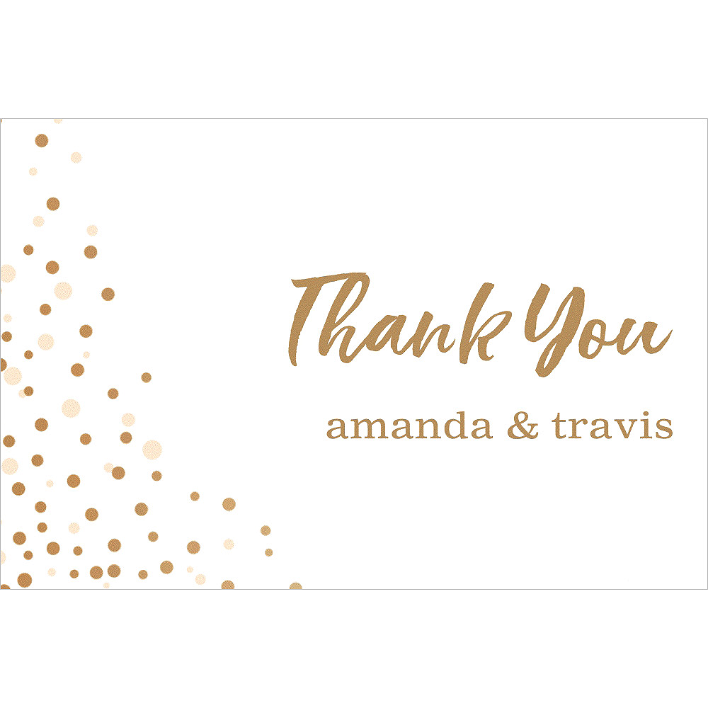 Custom White Champagne Bubbles Wedding Thank You Note Image #1
