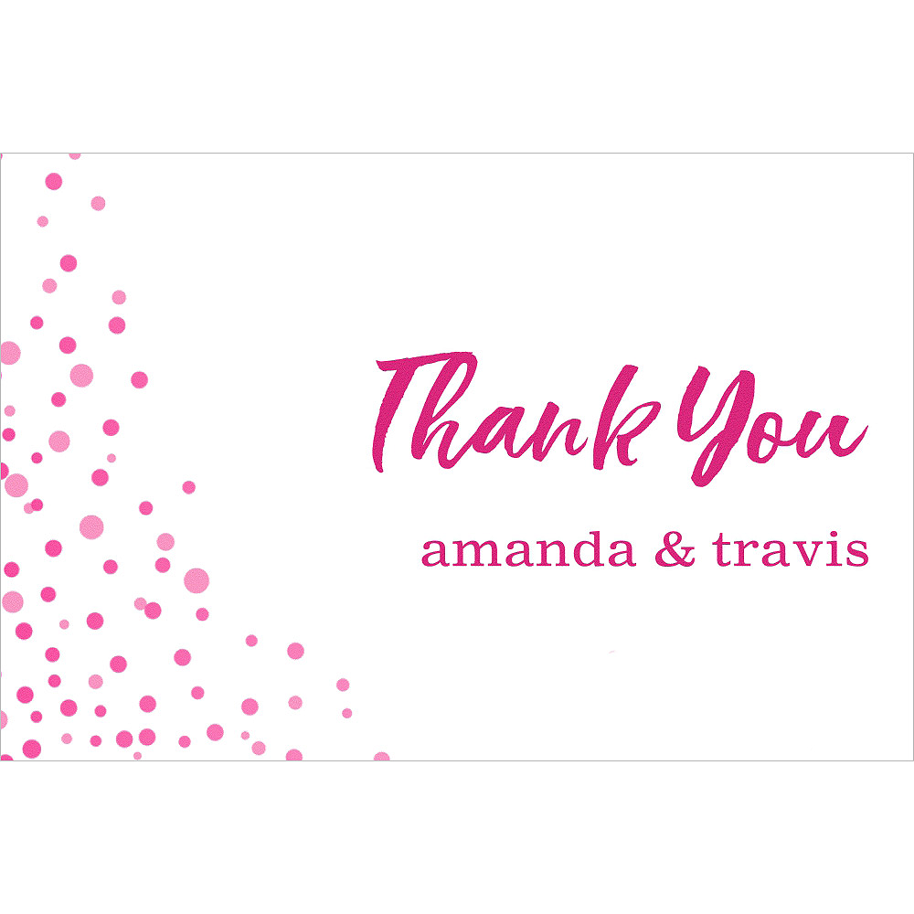 Custom Pink Champagne Bubbles Wedding Thank You Note  Image #1