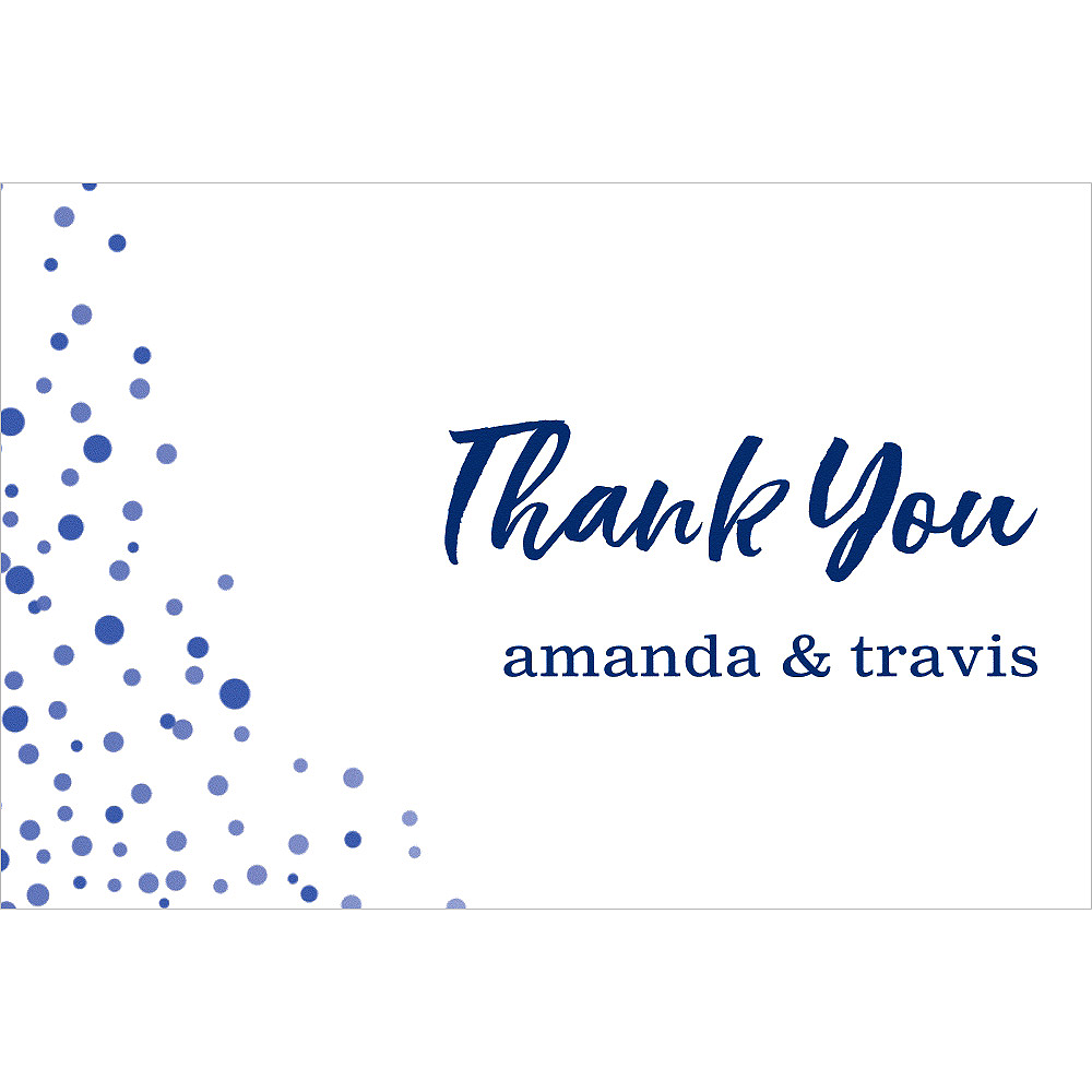 Custom Blue Champagne Bubbles Wedding Thank You Notes