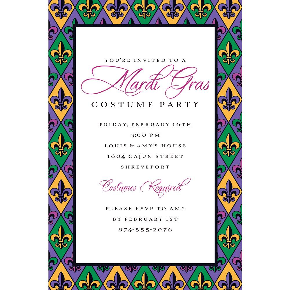 Custom Mardi Gras Fleur Di Lis Invitation Image #1
