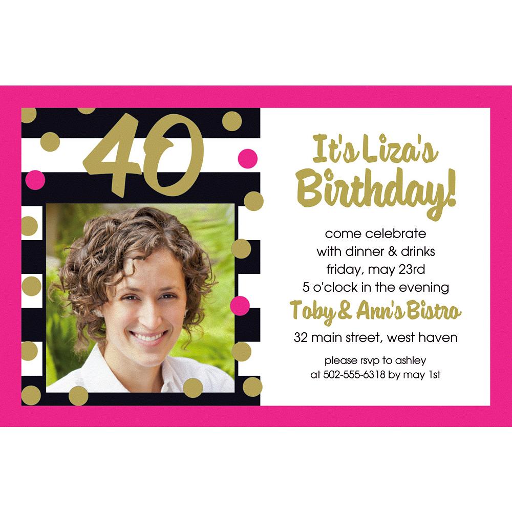 Custom Pink & Gold Confetti 40 Photo Invitation Image #1