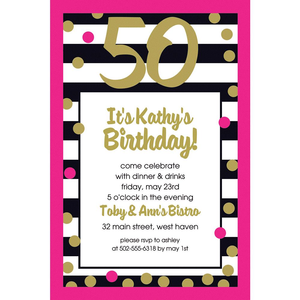 Custom Pink & Gold Confetti 50 Invitation Image #1