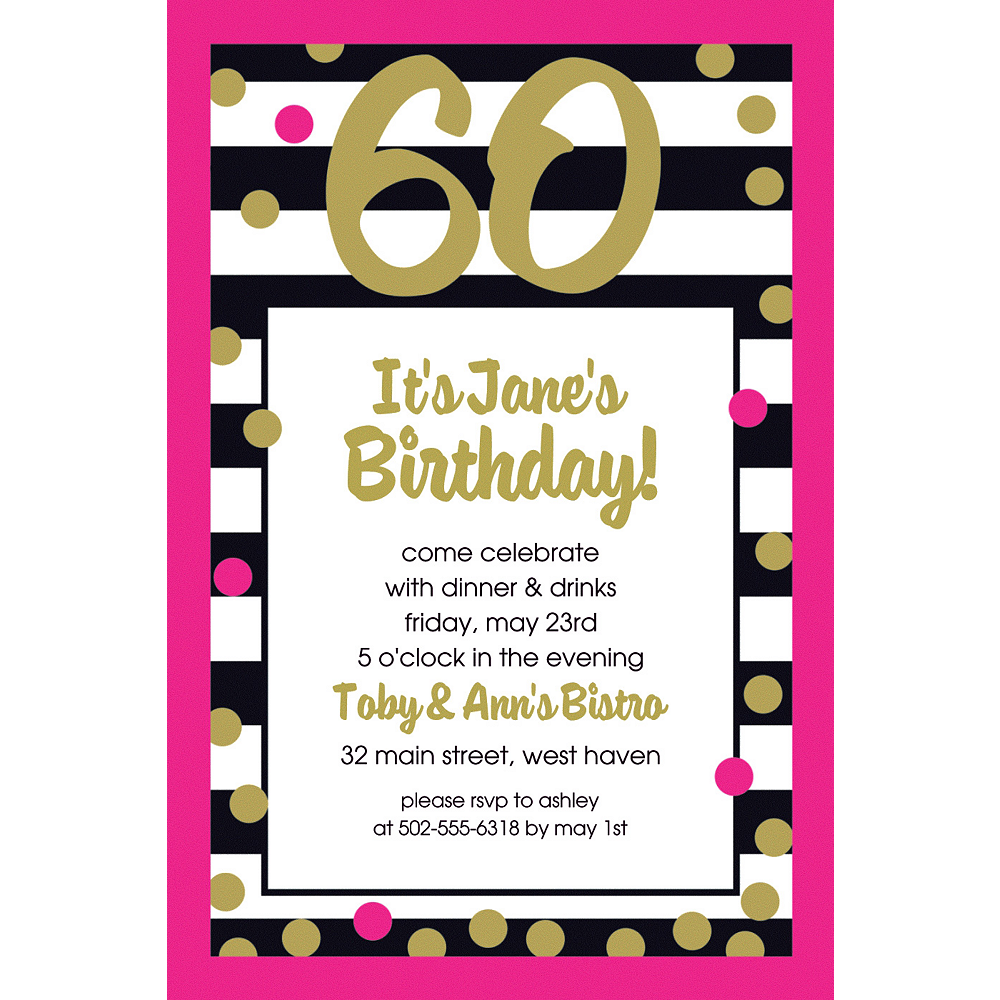 Custom Pink & Gold Confetti 60 Invitation Image #1