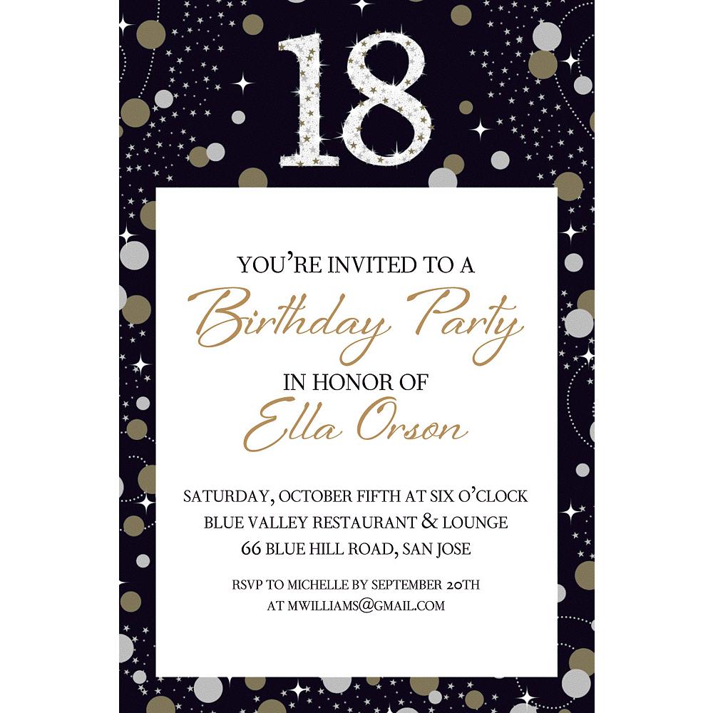 Custom Sparkling Celebration 18 Invitation Image #1