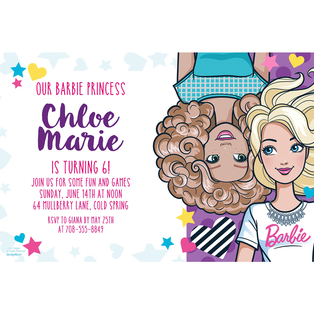 Custom Barbie Invitation  Image #1