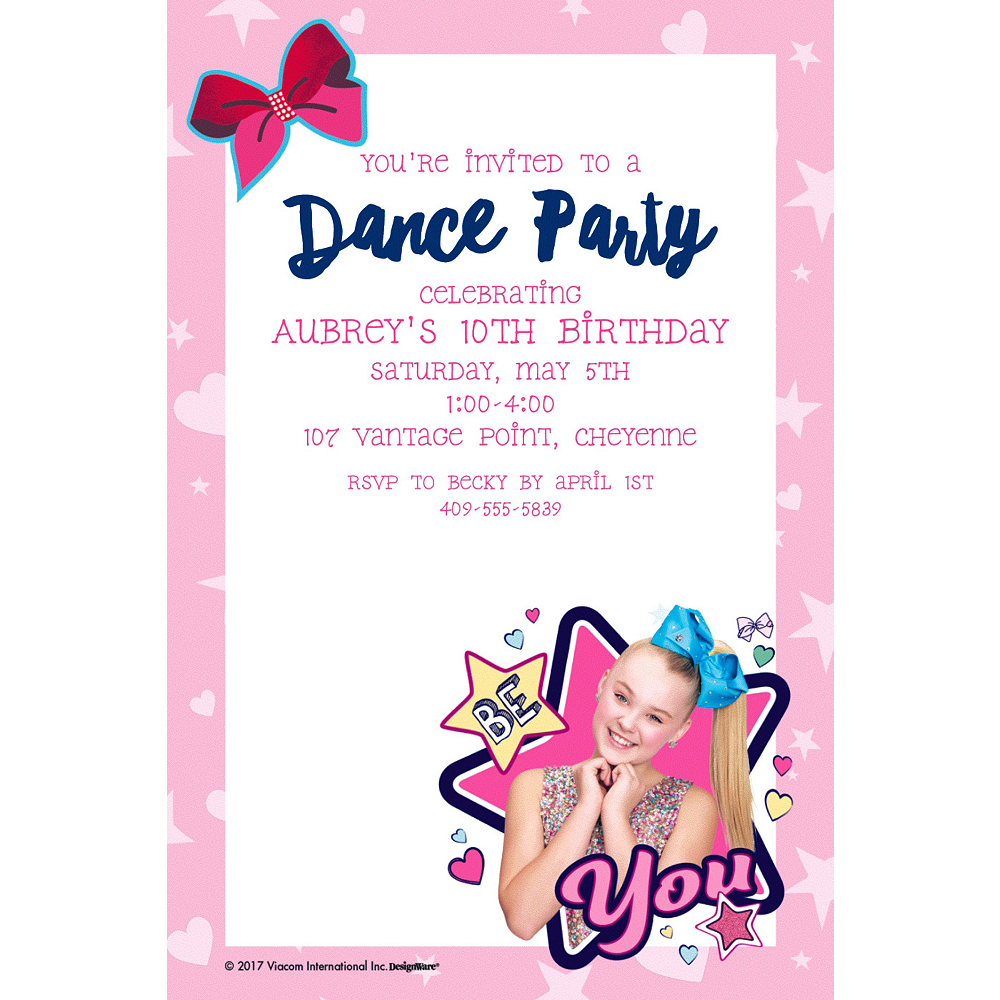 Custom JoJo Siwa Invitation Image 1