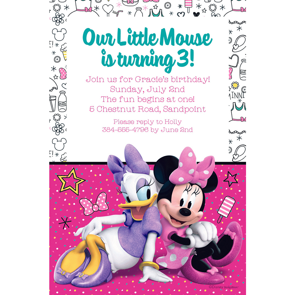 Custom Minnies Happy Helpers Invitation Image 1