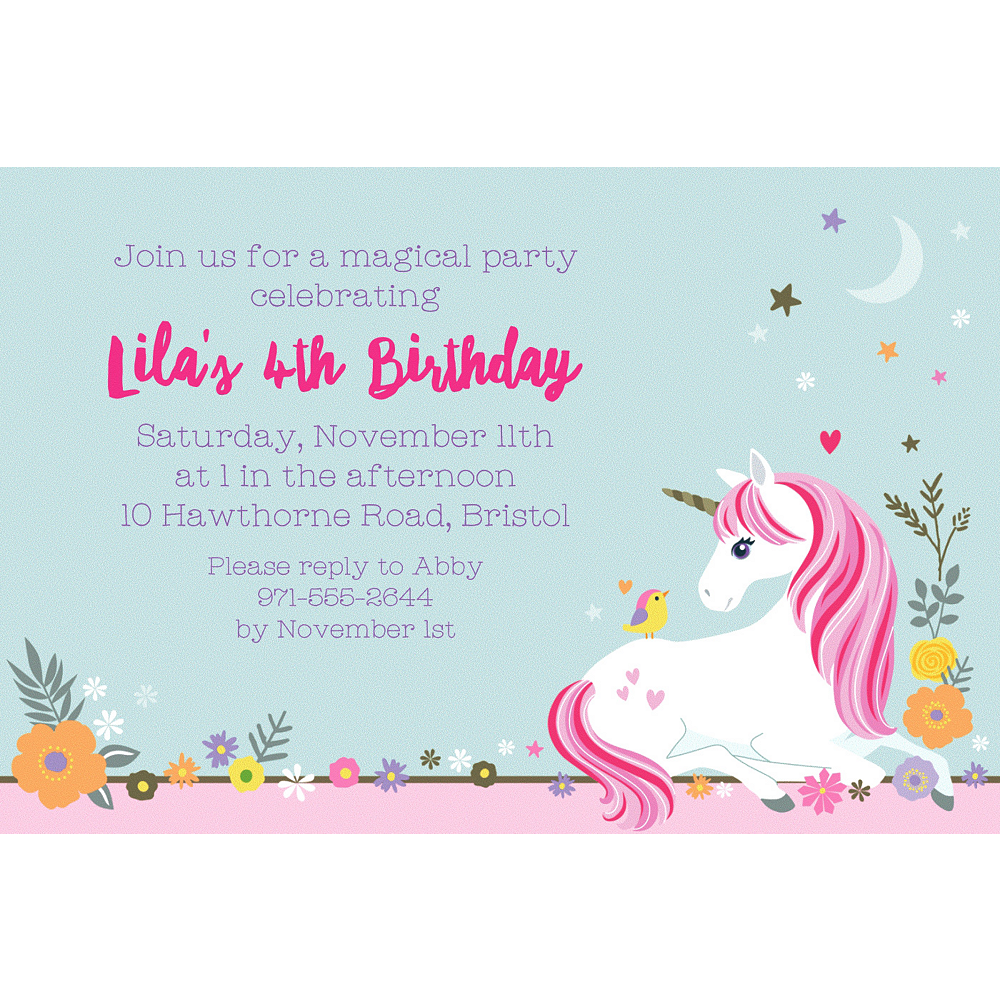 Custom Magical Unicorn Invitation Image 1