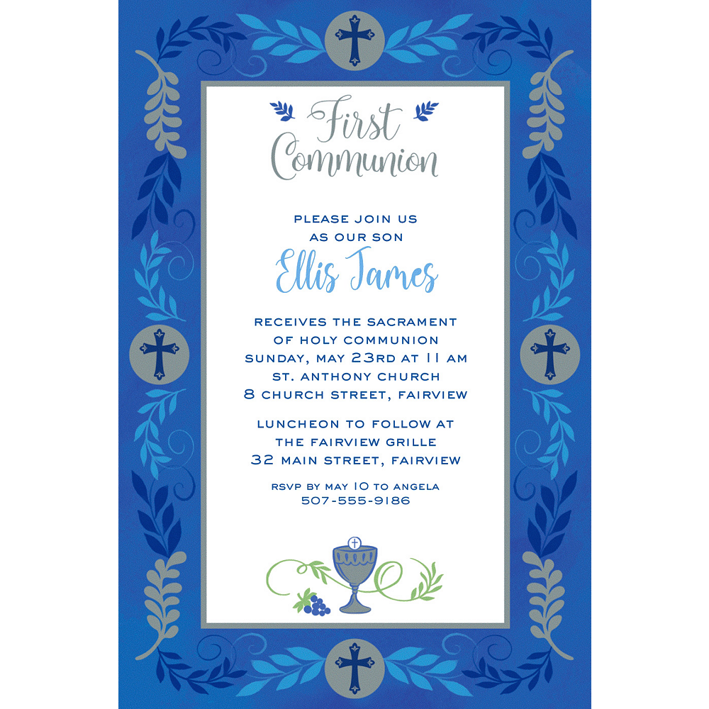 Custom Communion Day Boy Invitation  Image #1