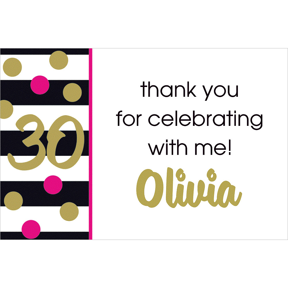 Custom Pink & Gold Confetti 30 Thank You Note Image #1