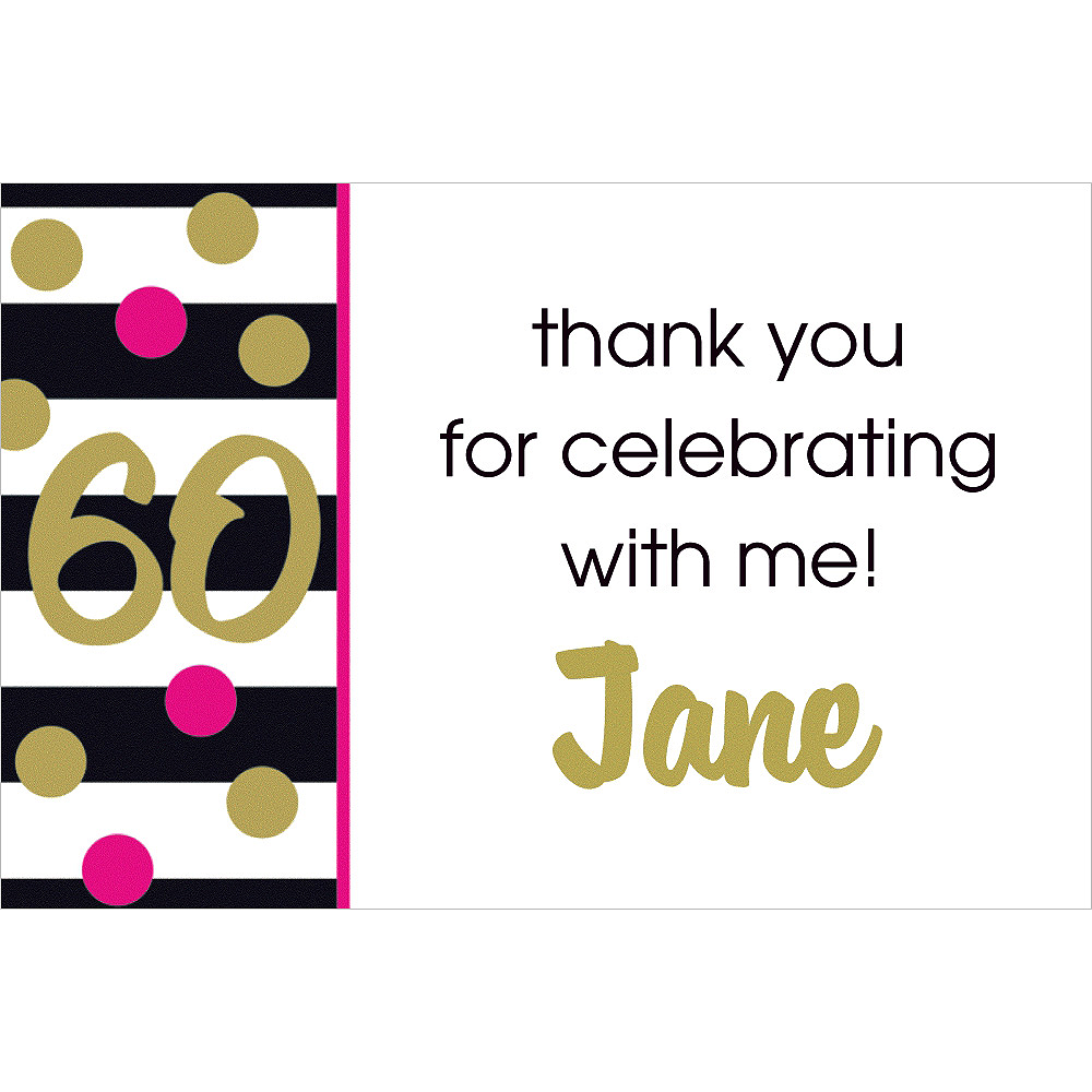 Custom Pink & Gold Confetti 60 Thank You Note Image #1