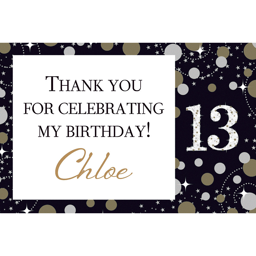 Custom Sparkling Celebration 13 Thank You Note Image #1