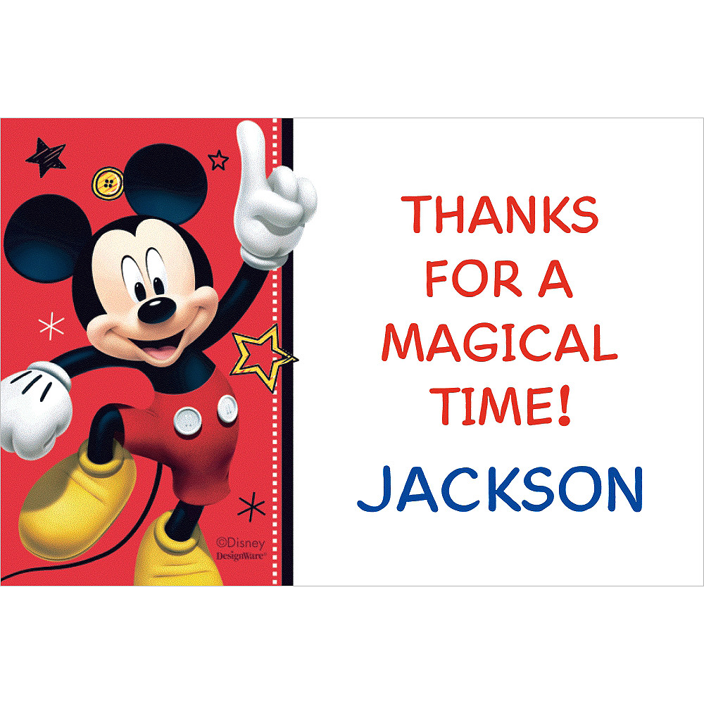 Custom Mickey On The Go Thank You Notes  Image #1