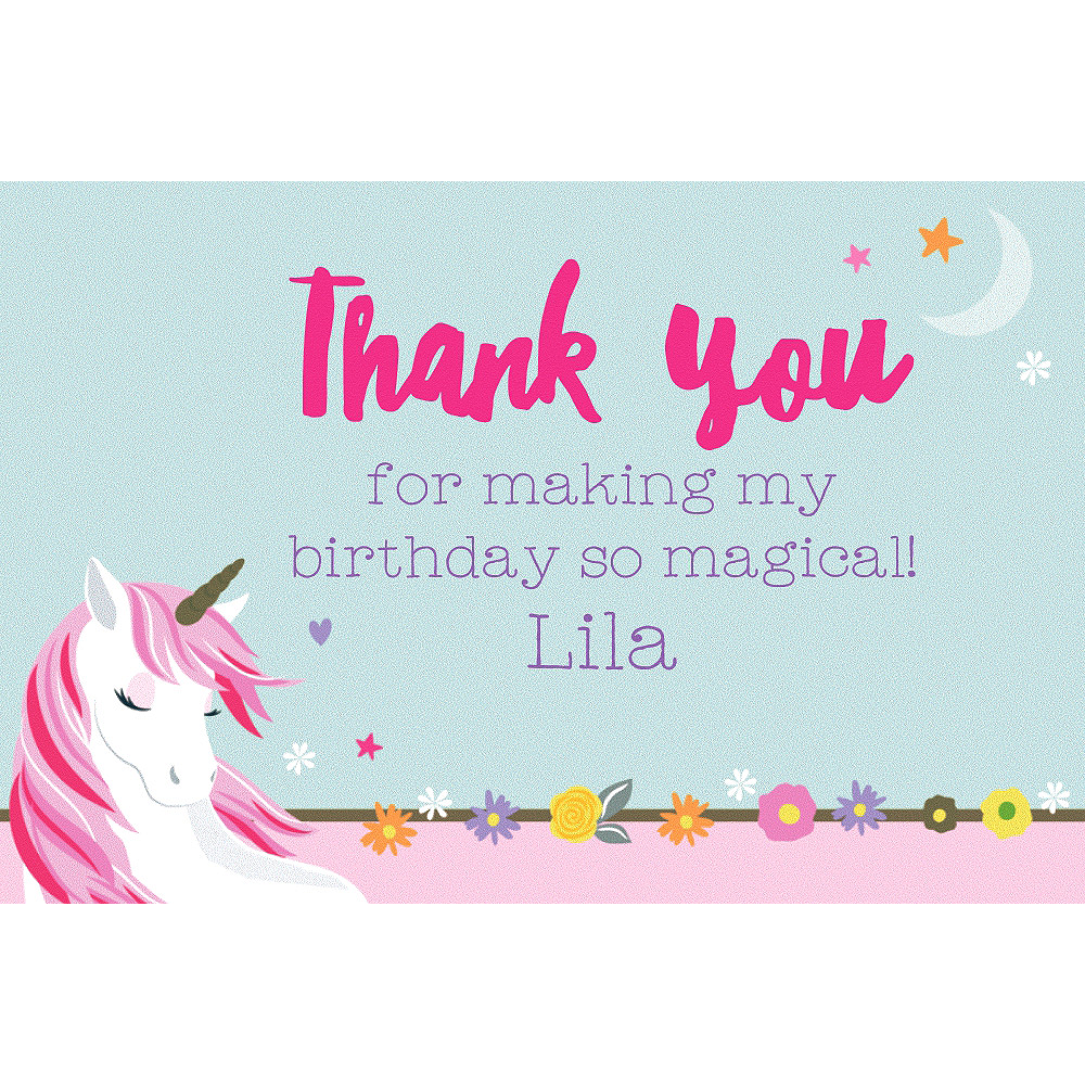 Custom Magical Unicorn Thank You Note  Image #1