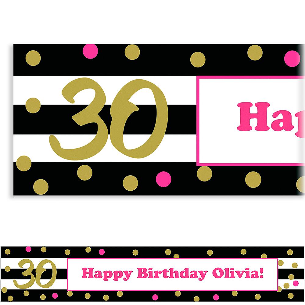 Custom Pink & Gold Confetti 30 Banner Image #1