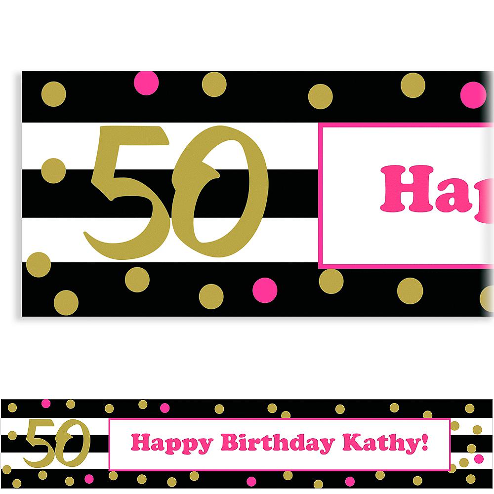 Custom Pink & Gold Confetti 50 Banner Image #1