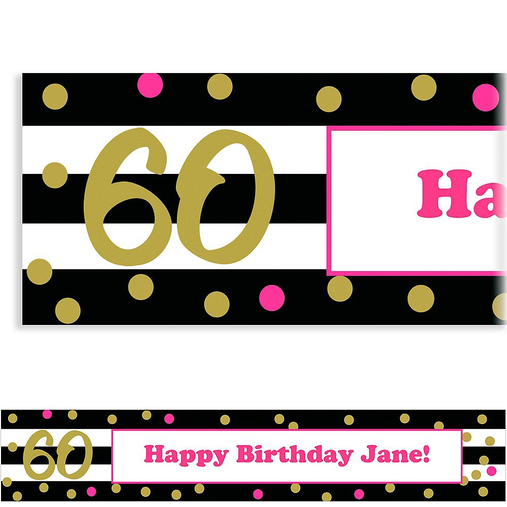 Custom Pink & Gold Confetti 60 Banner Image #1