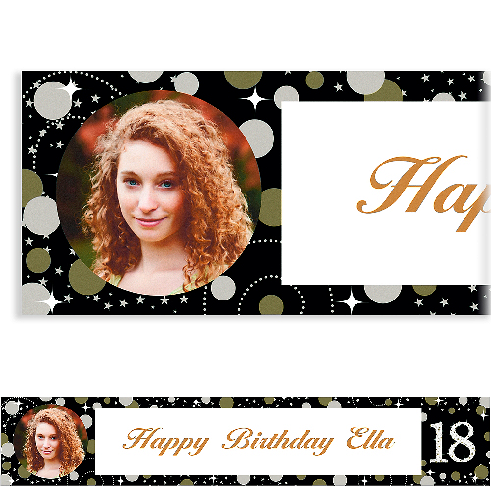 Custom Sparkling Celebration 18 Photo Banner Image #1