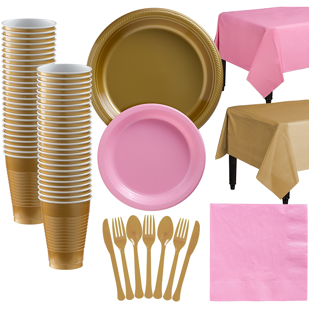 Gold & Pink Plastic Tableware Kit for 50 Guests Image #1
