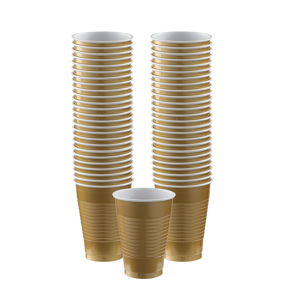 Gold & Pink Plastic Tableware Kit for 50 Guests Image #5