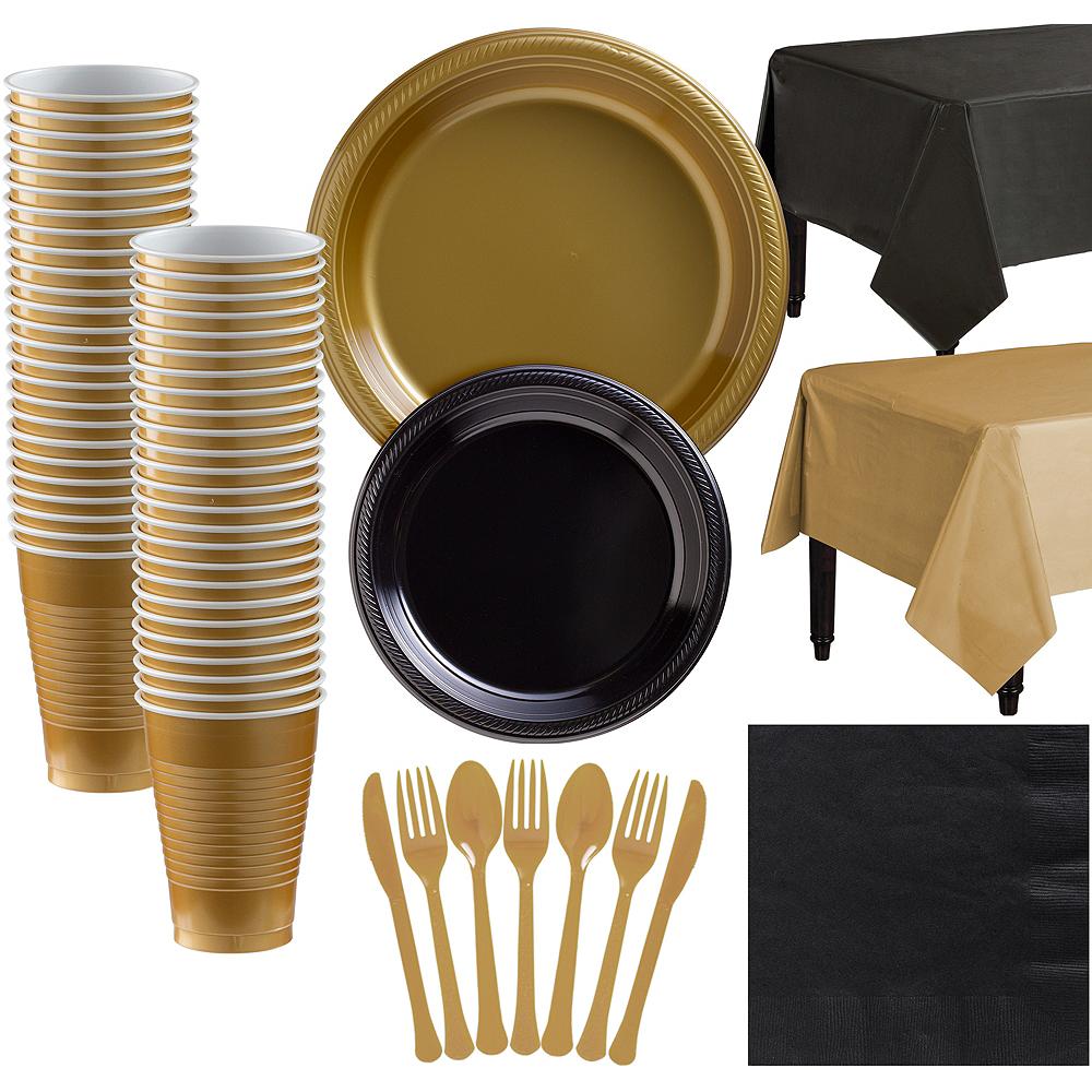 Gold & Black Plastic Tableware Kit for 50 Guests Image #1