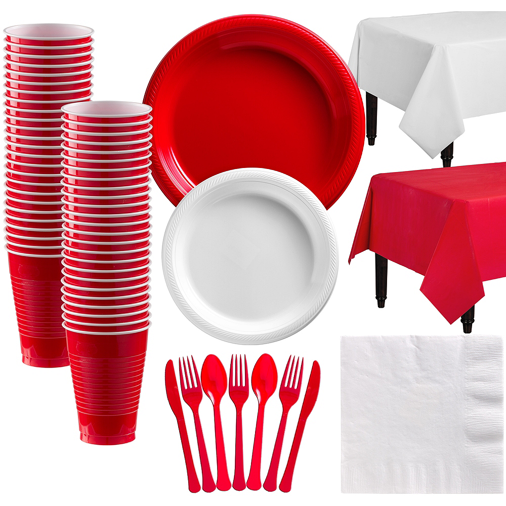 Red & White Plastic Tableware Kit for 50 Guests Image #1