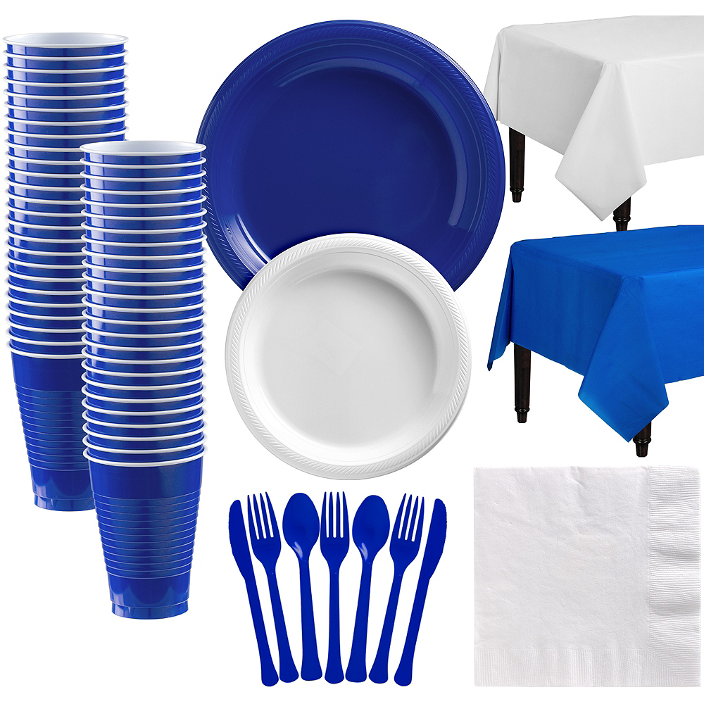 Royal Blue & White Plastic Tableware Kit for 50 Guests Image #1