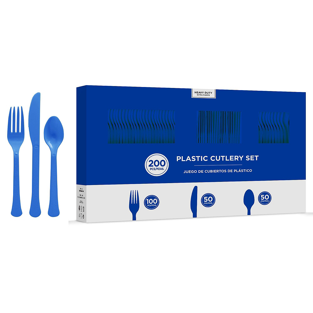 Royal Blue & White Plastic Tableware Kit for 50 Guests Image #8