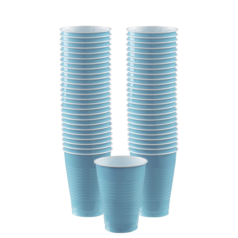 Caribbean Blue & White Plastic Tableware Kit for 50 Guests Image #5