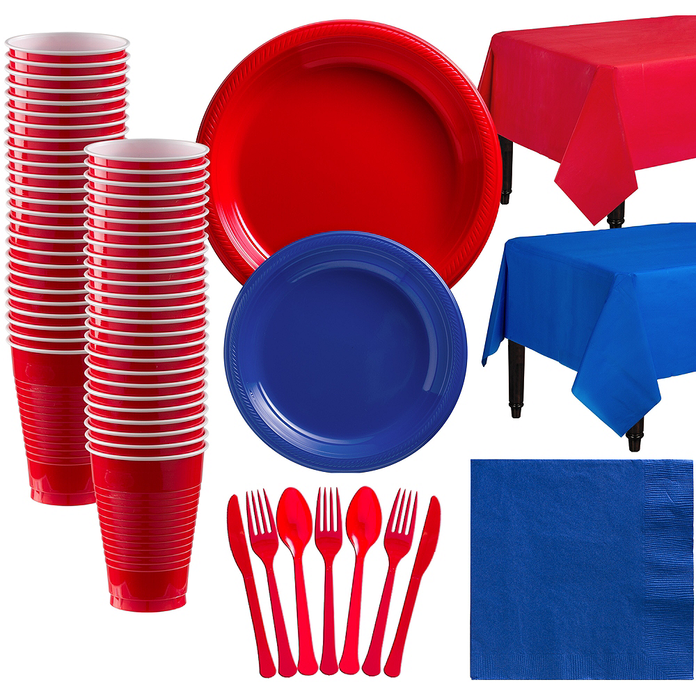 Red & Royal Blue Plastic Tableware Kit for 50 Guests Image #1