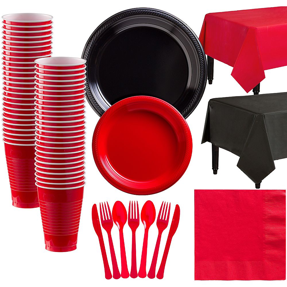 Black & Red Plastic Tableware Kit for 50 Guests Image #1
