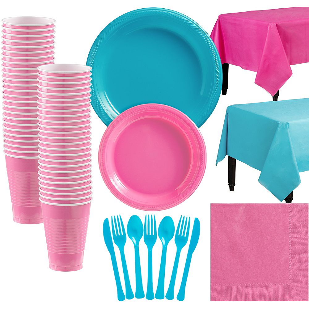 Bright Pink & Caribbean Blue Plastic Tableware Kit for 50 Guests Image #1