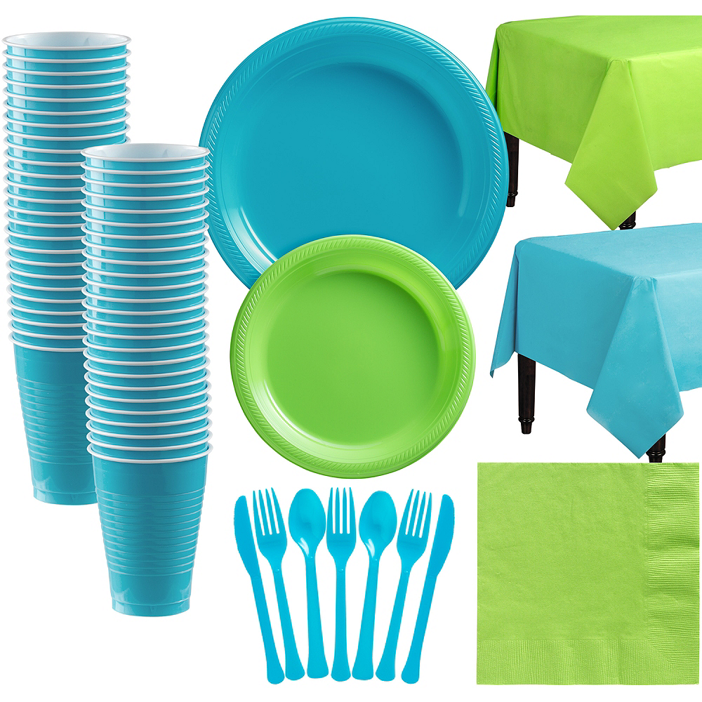Caribbean Blue & Kiwi Green Plastic Tableware Kit for 50 Guests Image #1