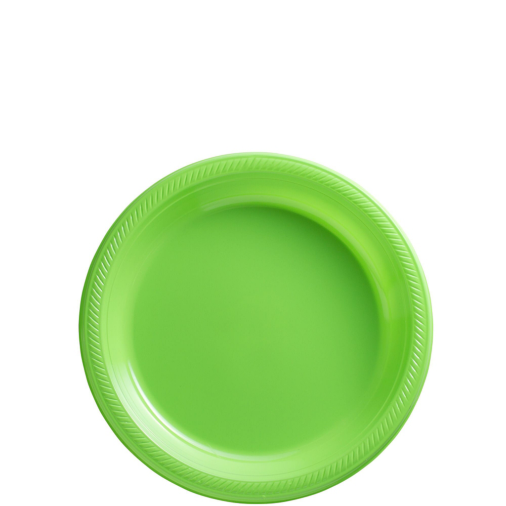 Caribbean Blue & Kiwi Green Plastic Tableware Kit for 50 Guests Image #2