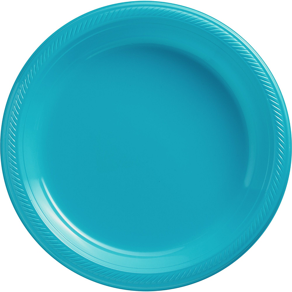 Caribbean Blue & Kiwi Green Plastic Tableware Kit for 50 Guests Image #3
