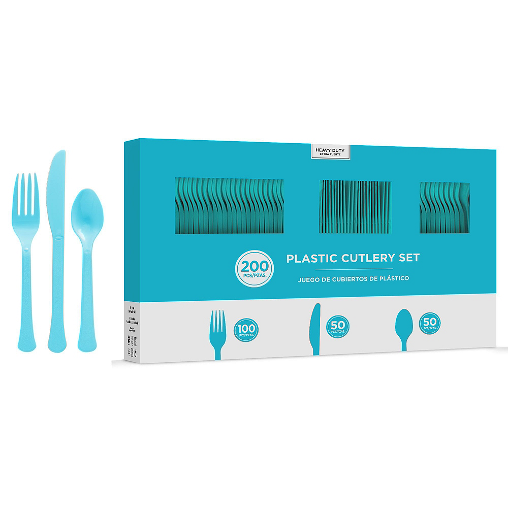 Caribbean Blue & Kiwi Green Plastic Tableware Kit for 50 Guests Image #8