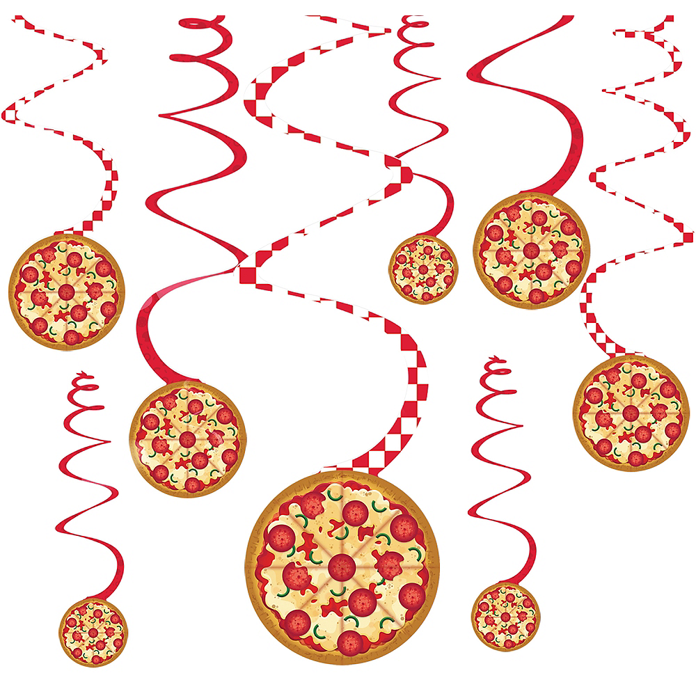 Pizza Party Swirl Decorations 12ct Image #1